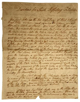 Handwritten instructions for the use of Short's telescope