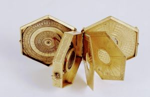 16th century hexagonal astronomical compendium, displayed folded out.