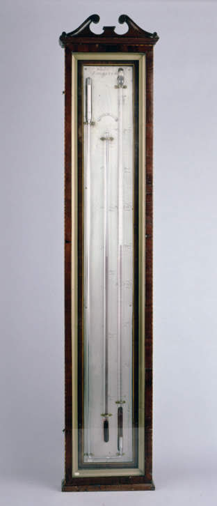 Angle mercury barometer and thermometer
