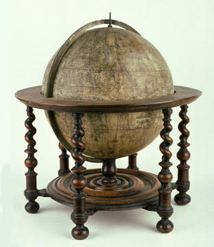 Terrestrial globe depicting the routes of famous explorers