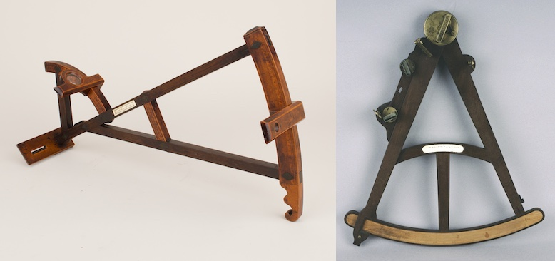 Backstaff, by Edmund Blow, London, 1736 and Octant, by John Goater, London, c. 1750