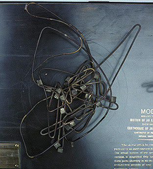 Close-up of the middle wire of the earthquake model