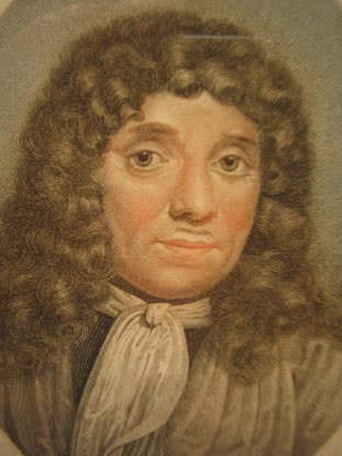 Print of a portrait of van Leeuwenhoek