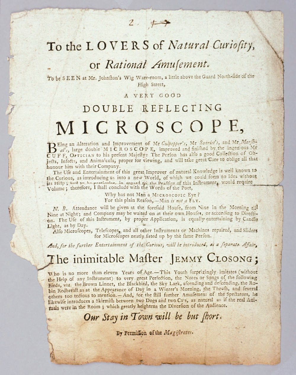 Advertisement for a microscope demonstration