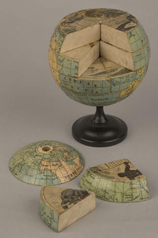 Jigsaw puzzle globe with segments removed