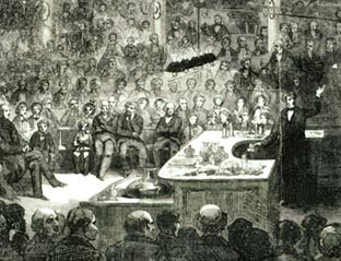 Print of Faraday lecturing