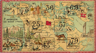 One of two lottery game cards for the continent of North America