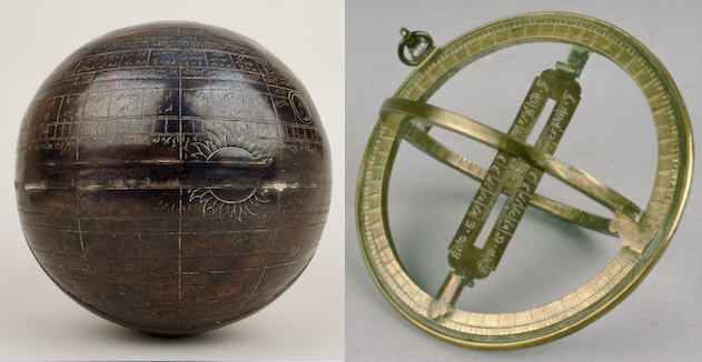 8-inch celestial astrologer's globe, and Universal equinoctial ring dial