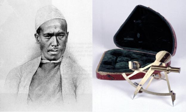 Pundit Nain Singh Rawat (1830–1882) and pocket surveying sextant