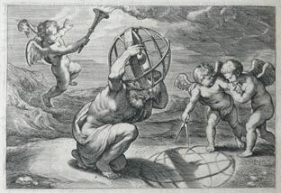 Engraving of Atlas holding an armillary projecting onto the ground