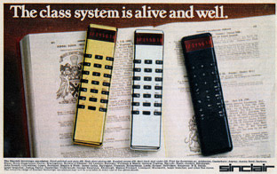 Advertisement for Sinclair Sovereign electronic calculator