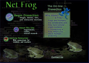 Screenshot of homepage of Net Frog - an online dissection.