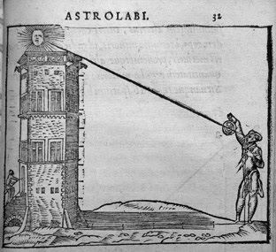 Woodcut print showing a man using an astrolabe to measure the height of a building.