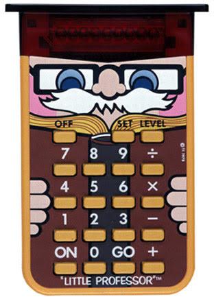 Pocket electronic calculator with a cartoon 'professor' design.