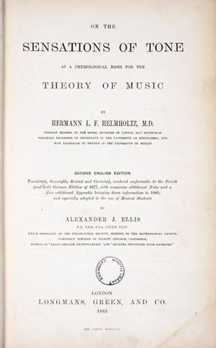 "Title page from the English translation of Helmholtz's ""On the Sensations of Tone"" (1885)"