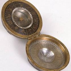 Japanese brass hinged case holding compass and scaphe dial