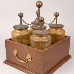 A battery of five Leyden jars, used to store static electricity so that its effects could be harnessed and studied.