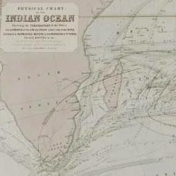 A chart of the Indian Ocean showing the temperature of the water, the currents of the air and ocean, directions of the wind, as well as districts of hurricanes, regions of typhoons, and trade routes.