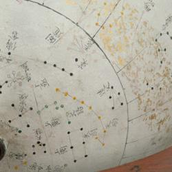 Detail of astronomical globe showing stars from the three jia of traditional Chinese astronomy
