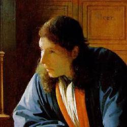 """Painting of van Leeuwenhoek by Johannes Vermeer: """"The Geographer""""."""