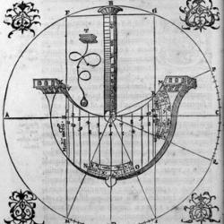 Woodcut print showing a ship-shaped dial