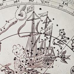 Detail of a silver celestial planisphere