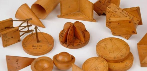 Selection of wooden geometric models.
