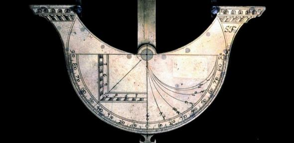 Detail of the ship-shaped sundial, showing the initials 'S.F.'