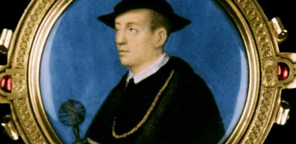 Detail from the portrait of Nicholas Kratzer, showing the incorrectly drawn armillary sphere