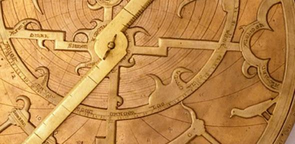 Detail from a 14th-century English astrolabe, including a bird