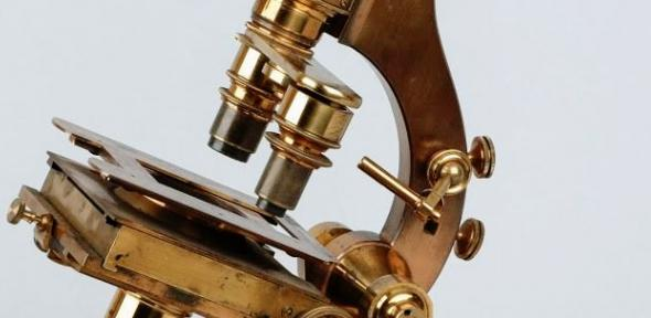 Detail (stage and objective lens) from Darwin's microscope