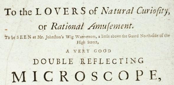 Detail of an advertisement for a microscope demonstration by John Cuff