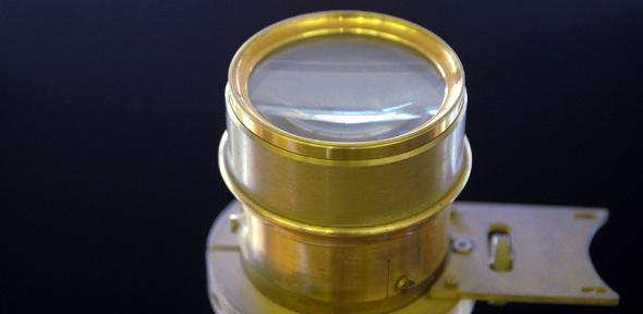 Close up of 'Russian'-style portable transit instrument