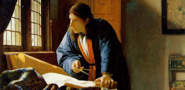 "Painting of van Leeuwenhoek by Johannes Vermeer: ""The Geographer""."