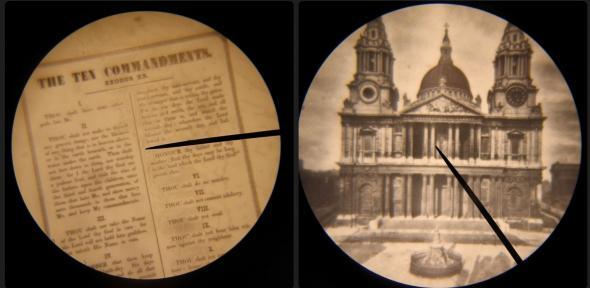 Two of Dancer's microphotographs: The Ten Commandments and St Paul's Cathedral
