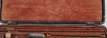 Wet-and-dry hygrometer dismantled in red velvet-lined case